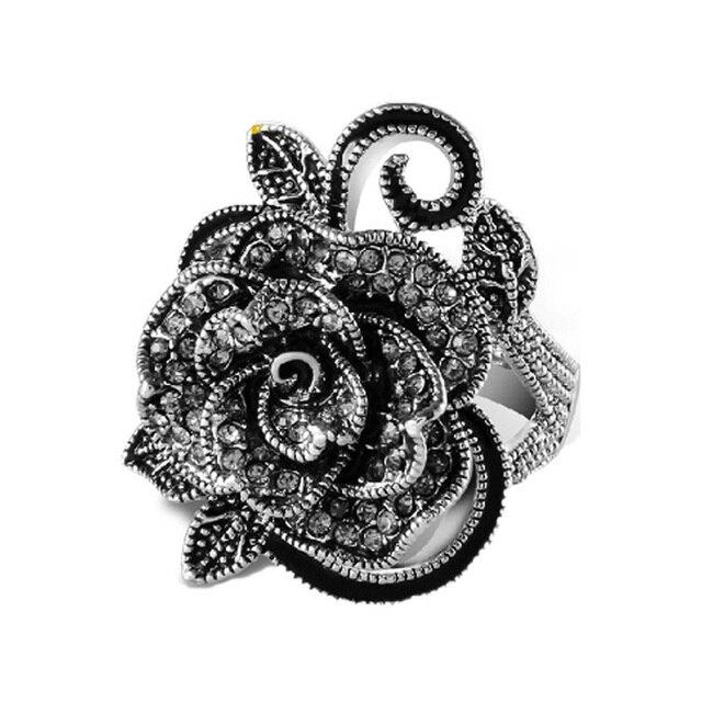 Wholesale 2017 retro fashion accessories unique silver plated Rose rings compati