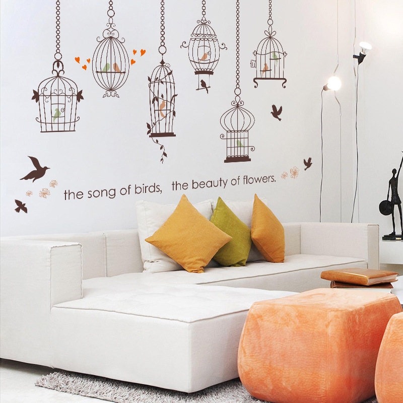 English Birdcage Removable Vinyl Wall Stickers For Kids Rooms Home Decor  Decal Poster Mural Papers SK9088 In Wall Stickers From Home U0026 Garden On ...