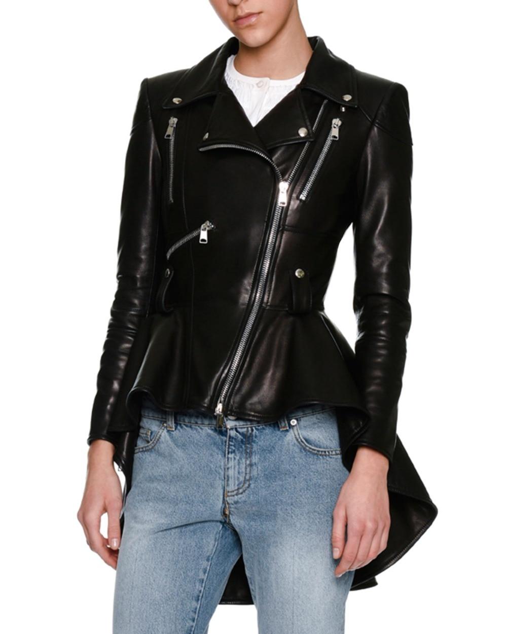 SS2018 Women s Brand notched lapels Faux Leather frock detail asymmetric zip front High low hem