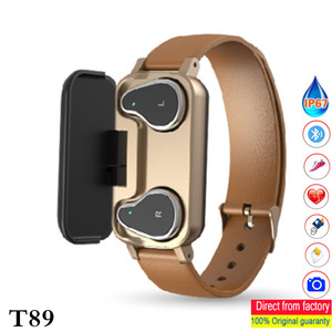 Image 1 - T89 smart band met dual oortelefoon sport fitness armband Bluetooth oortelefoon hartslag bloed pressur waterdicht Smart horloge