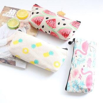 New Arrival Modern Kawaii Bird Flamingo Canvas Pencil Bag Stationery Storage Organizer Bag School Supplies Student Prize Pencil Bags