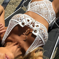 Articat Lace Two Piece Sexy Bodysuit Women Tops Skinny Bandage Lace Up Hollow Out Rompers Womens