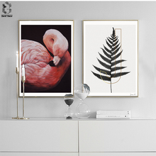 Nordic Wall Art Posters and Prints Flamingo Canvas Painting Pictures For Living Room Scandinavian Black White Leaf Home Decor