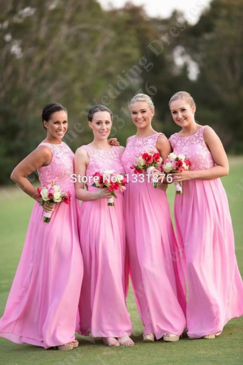 Asombroso Damas De Honor De Color Rosa Caliente Del Vestido Imágenes ...
