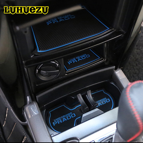 3 Colors Rubber Non-Slip Interior Door Mat Dusty-Proof Cup Mats For Toyota Land Cruiser Prado FJ150 2018 Accessories