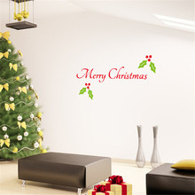 64*33cm1Pcs Home Decor Art Vinyl Merry Christmas Tree Mural Decals Removable Wall Sticker Xmas Wreath Window House Stickers