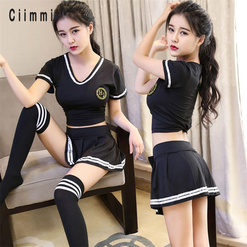 Erotic Underwear Cosplay Role Play Games Sexy Lingerie Student Uniform Set Mini Skirt+Stockings Products Halloween Sexy Cosplay