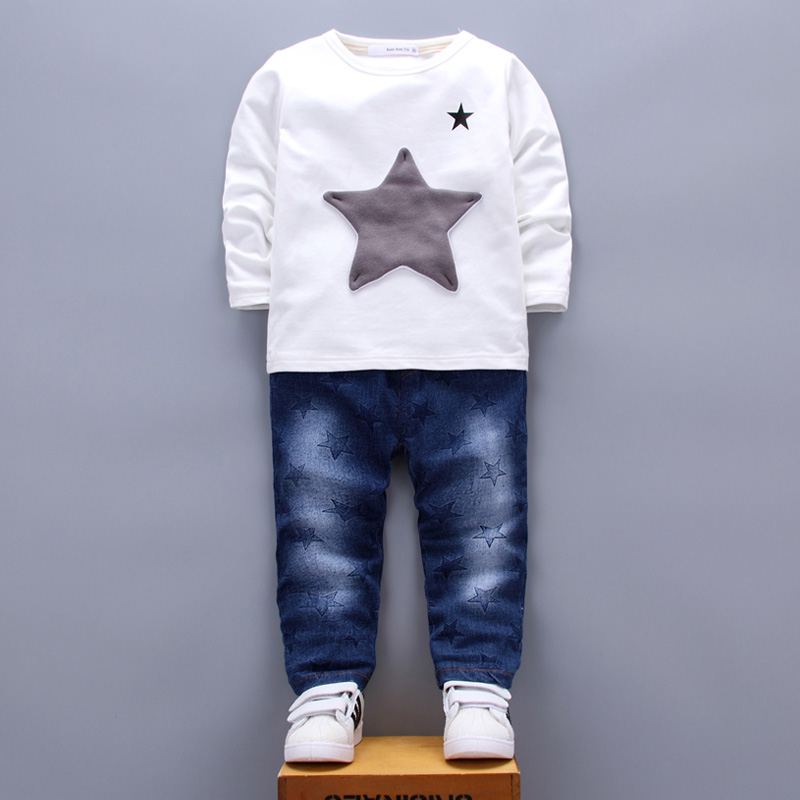 Patchwork Star Kids Clothing Sets for Boys Girls age 1 2 3 4 Years T-shirt Jeans Pants Two Pieces Suits White Blue Green 2017  (14)