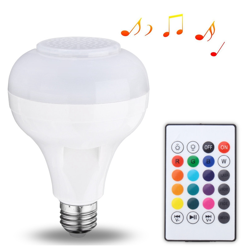 12W LED Lamp Bulb E27 USB Smart RGB Wireless Bluetooth Speaker Bulb Music Playing LED Light Bulb With 24 Keys Remote Control