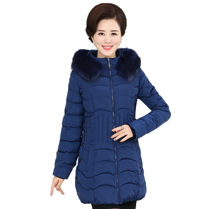 2017 Middle - aged women 's new down jacket 40-50 year - old middle - aged mother in winter coat long thicker coat 2017 in the elderly female winter down jacket large size short paragraph mother loaded 40 50 year old thicker grandmother jacket