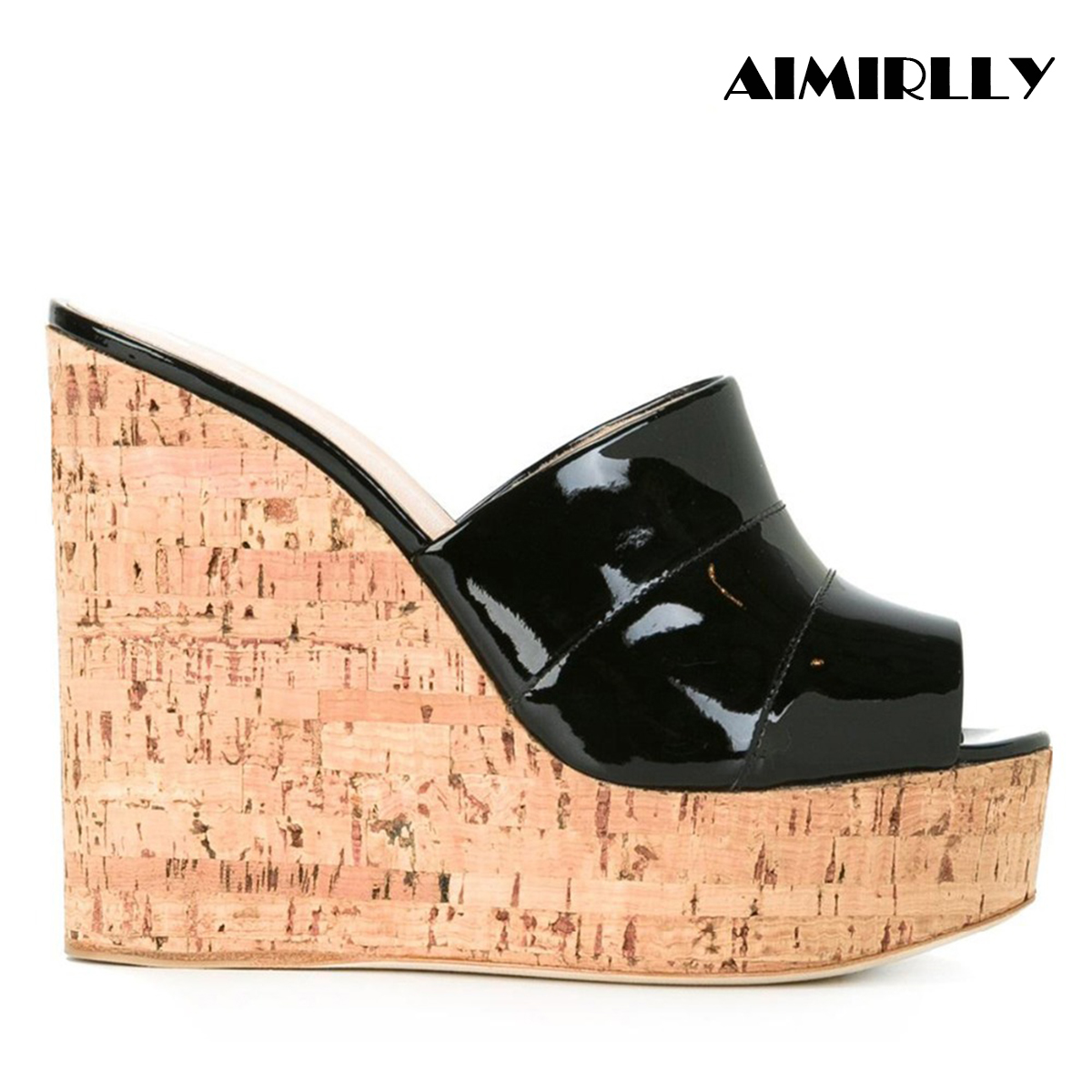 Aimirlly Women Shoes Slide-Sandals Mules Cork Wedge Slip-On High-Heel Black Silver Summer