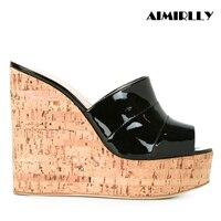 Aimirlly Women Shoes Cork Wedge Sky High Platform Slide Sandals High Heel Mules Summer Wear Slip On Black Silver
