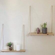 Настенная полка, подвесная деревянная полка для растений, небольшие бытовые детали, стеллаж для хранения, настенная веревка, полки для гостиной, настенные украшения