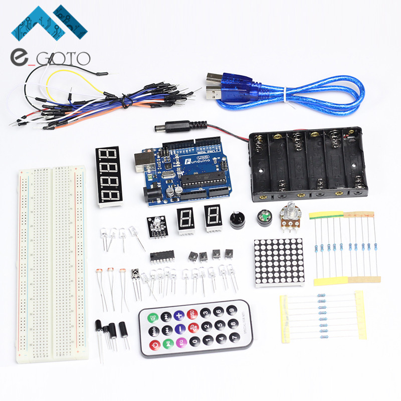 For Arduino Starter Kits Basis Learning Parts for Funduino Compatible for Arduino UNO MB-102 Eelectronic DIY Suite