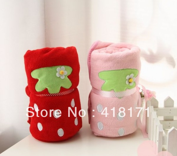Retail&Wholesale Coral Fleece Baby <font><b>Blanket</b></font>/air <font><b>blanket</b></font> Soft Baby Bedding Sweet strawberry design Pink&Red 110*80CM Free Shipping