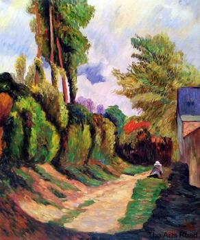 Living Room Wall Painting Sunken Lane, 1884 by Paul Gauguin Landscape Oil Painting for Sale High Quality