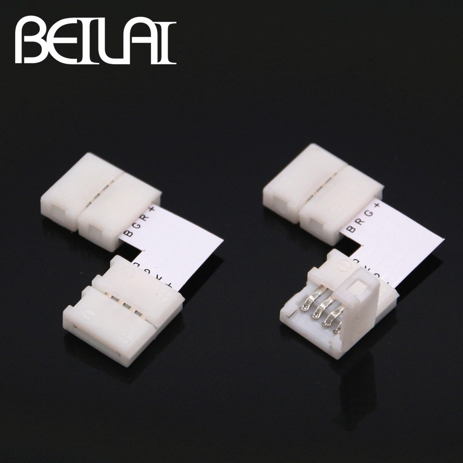 BEILAI 10PCS RGB LED Strip Connector 4pins 10mm L T X Shape Free welding Connector 5pcs led strip connector 2pin 8mm 10mm l t x shape quick splitter right angle free welding connector for single color led strip