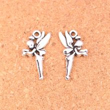 100Pcs Antique Silver Plated angel fairy tinkerbell Charms Diy Handmade Jewelry Findings Accessories 25*15mm