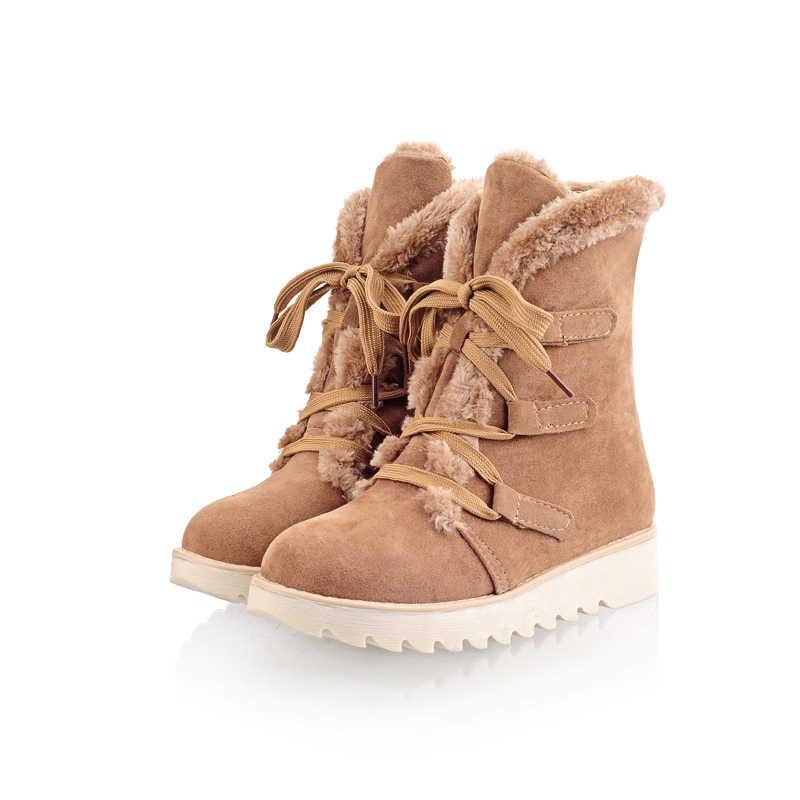 Assumer moda yüksek kalite sıcak kış çizmeler platformu süet kadın botları kalın kürk düz ayakkabı kar botları Avrupa Boyutu 34- 43