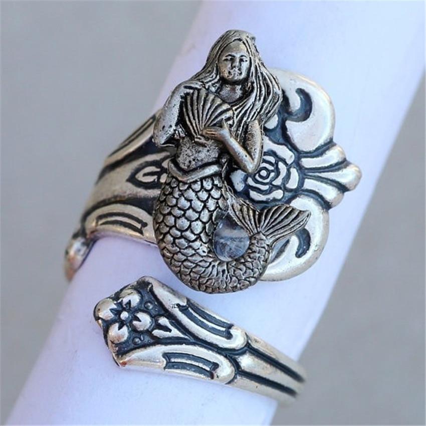 DANGGAO Handmade adjustable Retro Mermaid Ring for women men jewelry Antique Silver/Bronze Color Plated