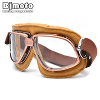 WWII Vintage Style Motorcycle Goggles Pilot Motocross Cycling Glasses Black PU Leather Retro Jet Helmet Eyewear