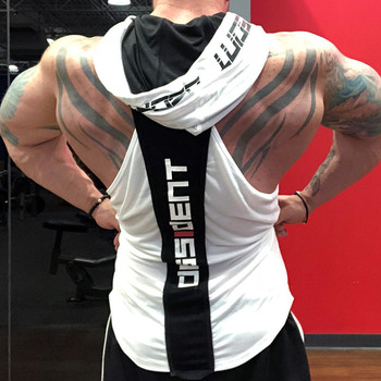 Bodybuilding Stringer Tank Top with hooded Mens Gyms Clothing Fitness Mens Sleeveless Vests Cotton Singlets Muscle Sports vest 10