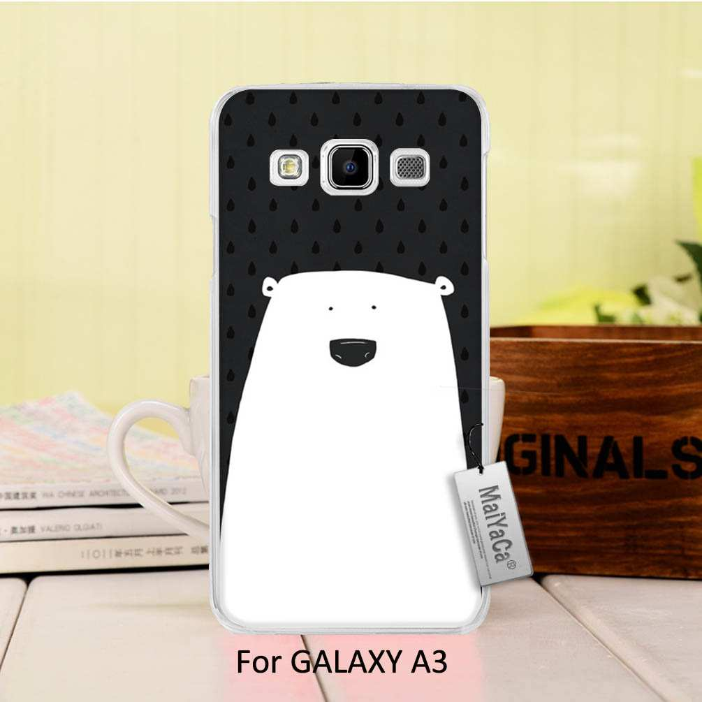 Maiyaca рисунок жесткий черный телефон Аксессуары для Samsung Galaxy A3 2015 случае Черный и белый цвета плакат Polar <font><b>bear</b></font>