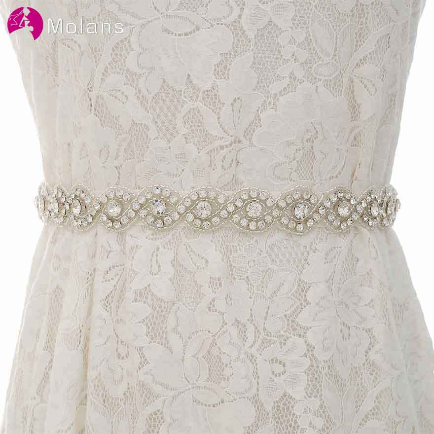 MOLANS Artistic Delicate Water Drill Wedding Dress Girdle For Bride Criss-Cross Splayed Satin Bow Ribbons For Dress Cummerbunds