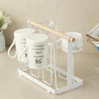 Iron Stand Coffee Cups Drying Storage Rack Holder Kitchen Desk Hanging Display Rack Drinkware Shelf Drain