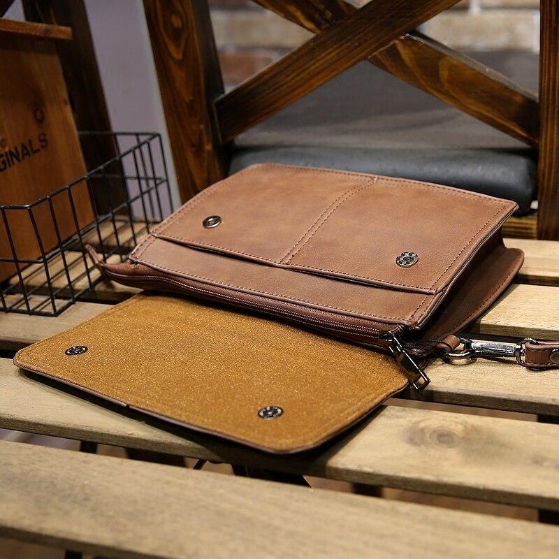 2019 Mode Männer Retro Große Kapazität Handtasche Crazy Horse Pu Leder Mann Bag Business Griff Ipad Verschleißfesten Umschlag Tag Kupplungen Home