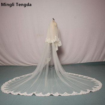 Mingli Tengda Ivory/White Bridal Veil Lace Veils Two Layers 3 M Long 3 M Wide Wedding Veil Elegant Lady Cathedral Veil with Comb