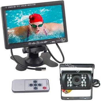 "12V-24V 7"" TFT LCD HD 800x480 Reversing Rear View Monitor Vehicle Backup Reverse Camera Kit for Bus Truck RV Caravan Trailers"