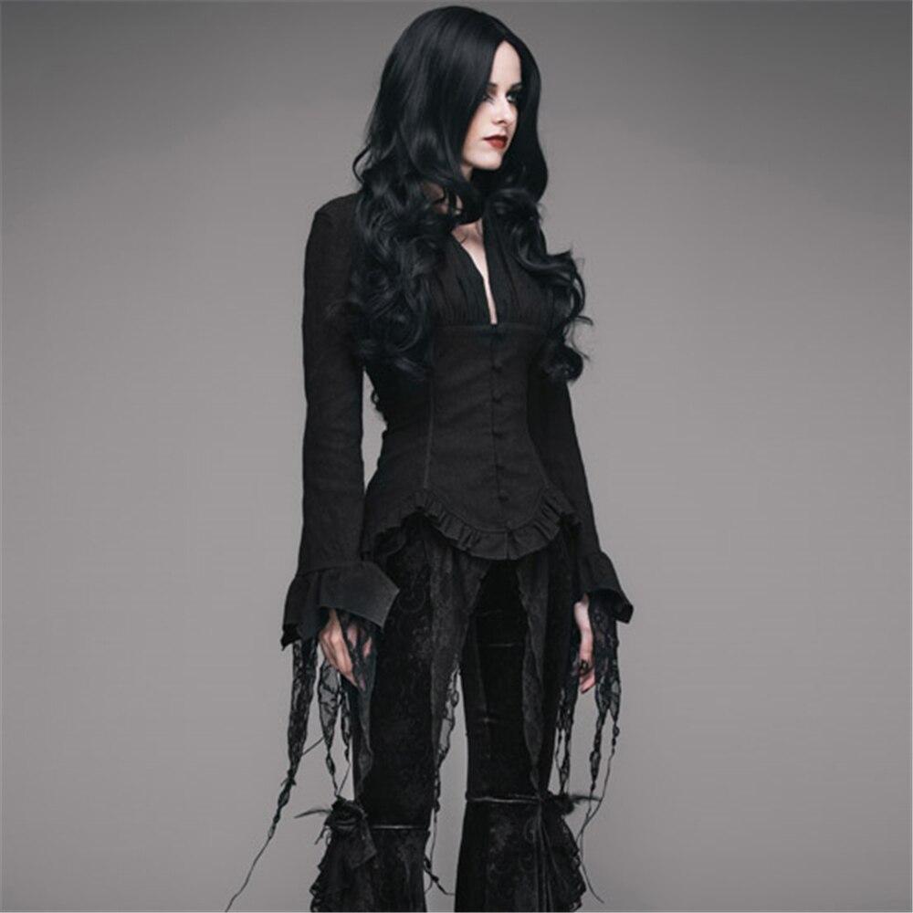 Steampunk Blouses femme rétro Palace manches longues dentelle gland chemises Top noir blanc Court Sexy Blouse - 3