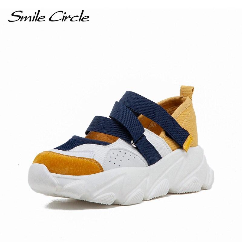 Sourire Circle 2019 printemps chaussures pour femmes baskets mode respirant maille décontracté plate-forme chaussures dames baskets