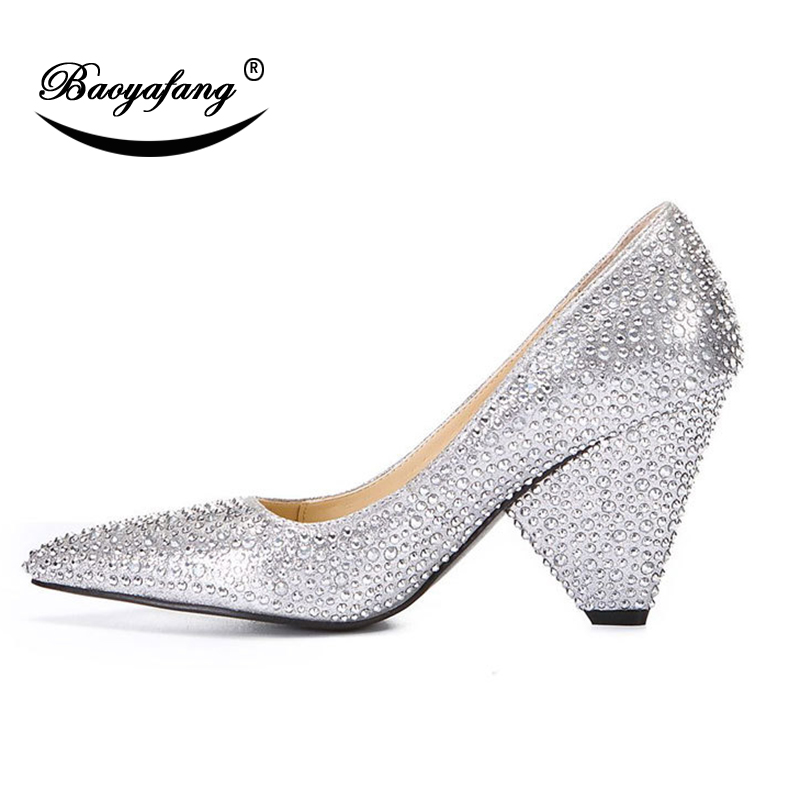 BaoYaFang 2018 New Arrival Strange Heel Women shoes Summer New hot drill  Golden wedding shoes Pointed. sku  32906197726 ffd7dee74c1c