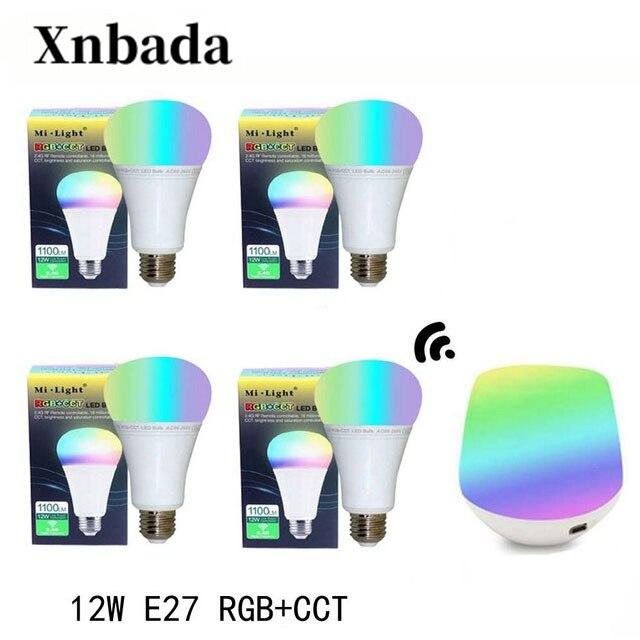Mi lumière 12 W lampe à Led E27 RGB + CCT Led ampoule + iBX1 RF télécommande wifi Led projecteur lumière variateur Led lumière AC85-265V livraison gratuite
