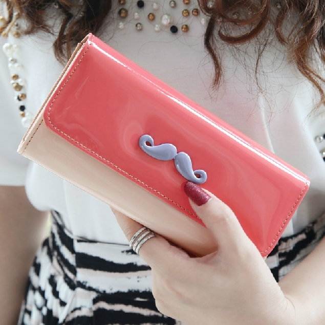 Beard Hit Color Stitching Flip Wallet New Fashion PU Leather Women Wallets Ms. Long Clutch Money Mobile bags Card & ID Holders