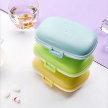 YEPACGDSE New plastic flip one week pill box rectangular portable seven grid double days mini compartment storage