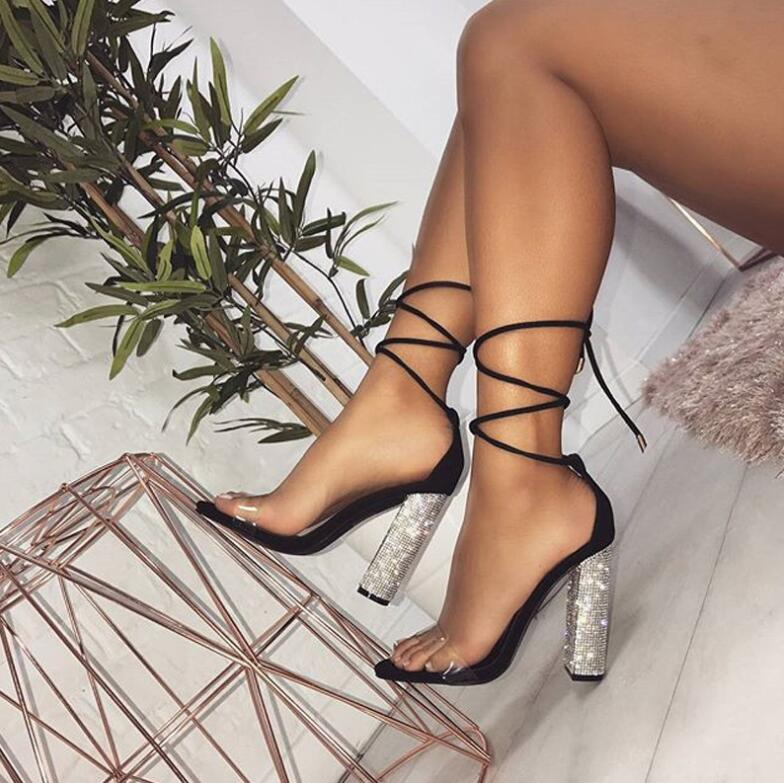 Big size 34-43 Women Heeled Sandals Bandage Rhinestone Ankle Strap Pumps Super High Heels 11 CM Square Heels Lady Shoes new #265 4