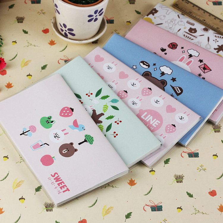 Korean Kawaii Cute Bear Colorful Rabbit Waterproof Planner Book Diary Line Notebook Monthly Weekly Planner Agenda Organizer 2017 jacques lemans jl 1 1752k