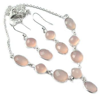 Genuine Rose Quartz Earings Necklace set 925 Sterling Silver,46.5 cm, MHBNE0061