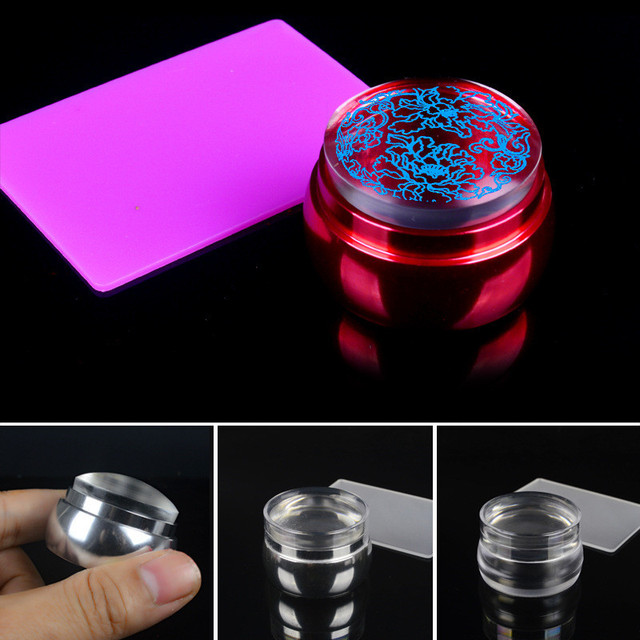 Mtssii 1 Set Nail Art Templates Pure Clear Jelly Silicone Stamping Plate Scraper With Cap