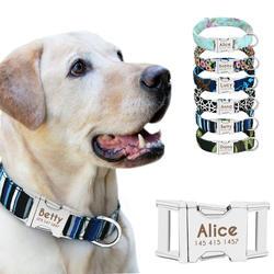 Ошейник персонализированные нейлон маленьких собак Щенок Ошейники выгравировать имя ID для маленький средний большой питомец питбуль