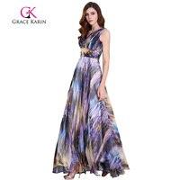 Grace Karin Evening Dress Long Chiffon Prom Gowns Deep V Sleeveless Celebrity Vestido de Festa Evening Dresses Ombre Party Dress