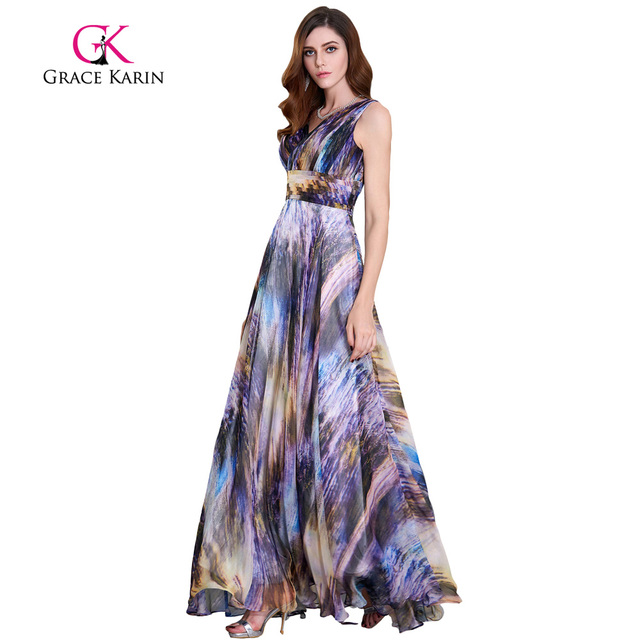 Grace Karin Evening Dress Long Chiffon Prom Gowns Deep V Sleeveless ...