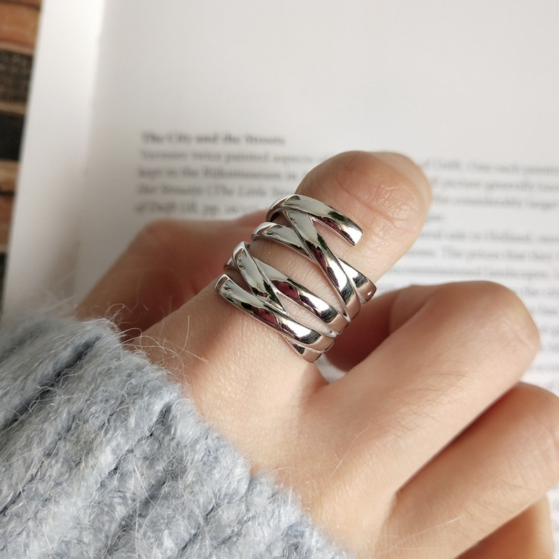 LouLeur 925 sterling silver line weave Multi-layer rings silver creative temperament open rings for women festival jewelry gift LouLeur 925 sterling silver line weave Multi-layer rings silver creative temperament open rings for women festival jewelry gift