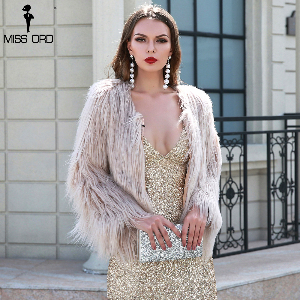 Missord 2019 Sexy Autumn And Winter Washed Hair Fox Fur Imitation Fur Coat  Long Sleeve Sweater  FT8666