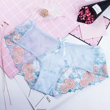 Roseheart Women Fashion Blue Lace Embroidery Sexy Panties Cotton Bow Underpants Low Waist Trim Underwear Lingerie Briefs