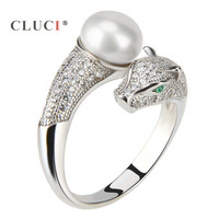 CLUCI 925 sterling silver adjustable pearls ring with glittering green eyes Leopard design
