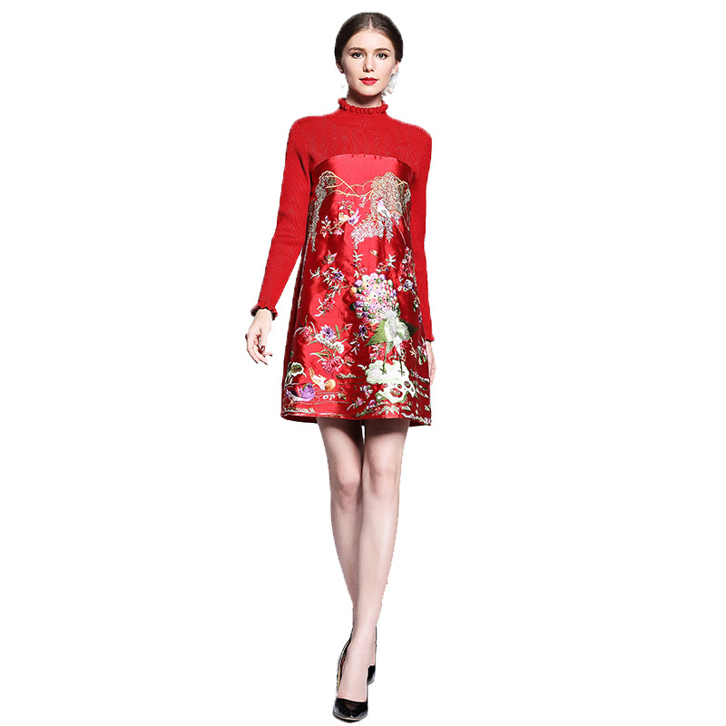Autumn Winter New Retro Mother Dress Knit Heavy Embroidery Embroidered Toast Clothing Bottom Stitching Dress